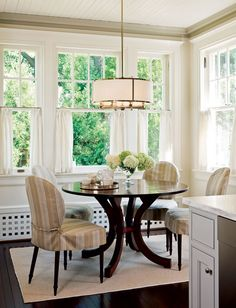 Attractive Slip Covers For The Chairs. A Cozy Dining Corner. Half Window  CurtainsCafe ...