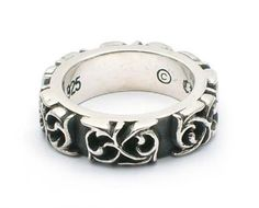 Valuable Bloody Silver Dark Curves Ring Ssr097 New | Real Chrome Hearts Jewelry On Sale
