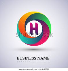H letter colorful logo in the circle. Vector design template elements for your application or company identity. - stock vector