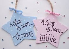 'A Star is Born' Personalised Wooden Star :: Personalised Gifts from GettingPersonal.co.uk