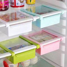 1.0AUD - Slide Kitchen Tidy Fridge Freezer Space Save Organizer Storage Rack Shelf Holder #ebay #Home & Garden