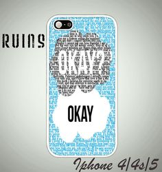 The Fault In Our Star, Okay-quotes iphone 4 case,iphone 4s case,iphone 5 case,samsung s3 case,samsung s4 case on Etsy, $15.75