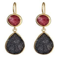 Ruby and Black Druzy 2 stone drop earring - needs bigger bottom stones
