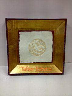 #Enmarcación artesana con #paspartú en pan de oro realizado con técnicas franceas