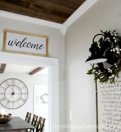 Learn how to make this DIY welcome sign with a few simple materials - no power tools required! Perfect for farmhouse style home decor.
