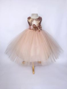 Rose Gold Sequin Tulle Bridesmaid Wedding Flower Girl Birthday Pageant Recital Blush Toddler Junior Size S M L XL 2 4 6 8 10 12 14 16 Rose Gold Wedding Dress, Wedding Bridesmaid Flowers, Blush Flower Girl Dresses, V Neck Wedding Dress, Wedding Dresses, Tulle Wedding, Flower Girls, Rose Gold Quinceanera Dresses, The Dress
