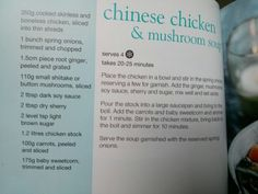 Chinese chicken and mushroom soup from Slimming World's little book of soup