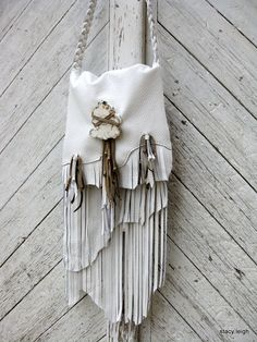Long Leather Fringe Bag in Snow door stacyleigh