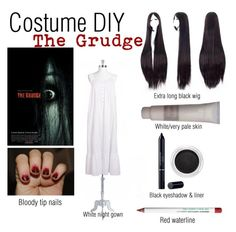 """""""Costume DIY: The Grudge"""" by abbey-jp ❤ liked on Polyvore featuring Eileen West, Christian Dior, Clarins and Obsessive Compulsive Cosmetics"""