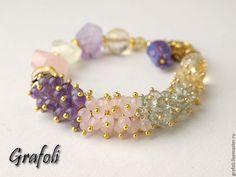 Купить Браслет Романтика - бледно-розовый, браслет из камней, браслет с подвесками, браслет с камнями, браслеты