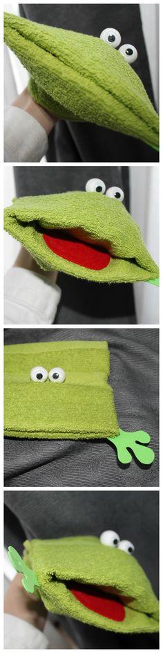 Frosch-Handpuppe aus Waschlappen