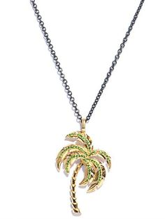NIKOS KOULIS Diamond, tsavorites & gold palm tree necklace