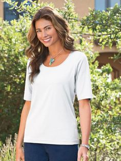 Women s prima cotton scoop neck tee also in plus size and petites