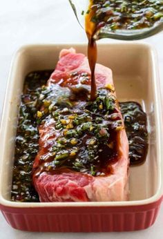 This easy steak marinade recipe is the BEST and it will quickly add tons of flavor to any cut of beef! The mixture is a blend of soy sauce Worcestershire sauce onion garlic honey olive oil and fresh herbs. Steak Marinade Recipes, Meat Marinade, Grilled Steak Recipes, Best Marinade For Steak, Marinades For Steak, Easy Steak Recipes, Beef Tenderloin Marinade, Flat Iron Steak Marinade, Sauce For Steak