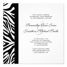 Shop Elegant Black and White Zebra Custom Wedding Invitation created by prettypicture. Personalized Invitations, Zazzle Invitations, Personalized Wedding, Custom Wedding Invitations, Elegant Wedding Invitations, Zebra Wedding, White Zebra, Pretty Pictures, White Envelopes