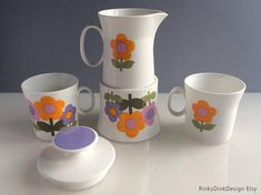 Dolly Days Hostess Tableware, Fine Bone China, Shape & Design by John Russell daisies, flower power / Jug and Sugar bowl Lilac, Pink, Shape Design, Orange Flowers, Sugar Bowl, Bone China, Flower Power, Bones, Shapes