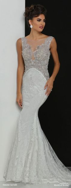 A-line Wedding Dresses : Deep V bodice with illusion lace and beading back dramatic detail soft A line