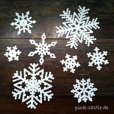 DIY snowflakes – crocheted or ironed - Ideas Diy Crafts Christmas Crafts, Christmas Decorations, Xmas, Christmas Perler Beads, Diy And Crafts, Crafts For Kids, Making Bracelets With Beads, Snow Flakes Diy, Peler Beads