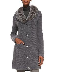 T8LA9 Neiman Marcus Long Fur-Collar Cable-Knit Cashmere Cardigan
