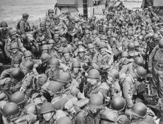 """Looking down at a large group of US Army troops on board an LCI, ready to ride to their rendezvous for the invasion of France."" Local Identifier: Record Group General Records of the Department of the Navy, 1804 - 1983 Battle Of Normandy, Normandy Invasion, D Day Photos, Normandy Beach, Normandy France, Department Of The Navy, D Day Invasion, Juno Beach, D Day Landings"