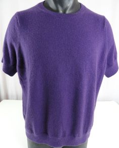 Lands' End Womens 2X 100% Cashmere Sweater Purple Crew Neck Short Sleeved Nice! #LandsEnd #Cardigan