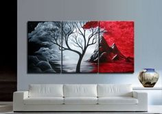 3191 free shipping handpainted 3 piece canvas wall art red black white oil painting as unique gift for home decor $45.00