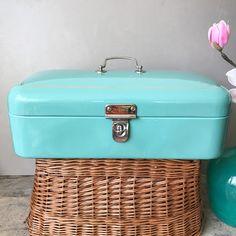 Turquoise Bread Box Vintage White Enamel Breadbox  Dutch Bread Bin  50's Antiqe