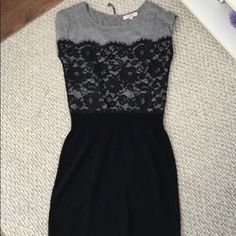 Black And Grey Lace Overlay Sweater Dress