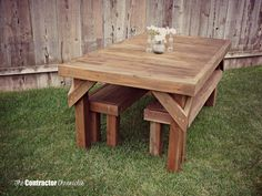 Share Tweet Pin Mail Towards the end of the summer, I got an idea to build a cedar picnic table in my head and ...