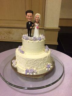 custom bobble head topper and buttercream 2 tier wedding cake www.holiday-market.com