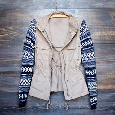 khaki cargo jacket with aztec pattern knit sleeves – shop hearts