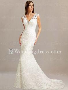 Lace V-Neck Trumpet Bridal Dress DE020