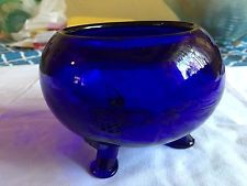 Vintage Cobalt Blue Glass Footed Bowl