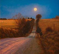 Moonrise Road by John Hulsey, plein air painting