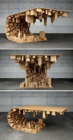 """""""Inception"""" Coffee Table Defies Gravity and Suspends Citysca.- """"Inception"""" Coffee Table Defies Gravity and Suspends Cityscape in Mid-air Coffee table Stelios Mousarris Wood Projects, Woodworking Projects, Unique Woodworking, Woodworking Plans, Design Living Room, Begin, Unique Furniture, Table Furniture, Furniture Ideas"""