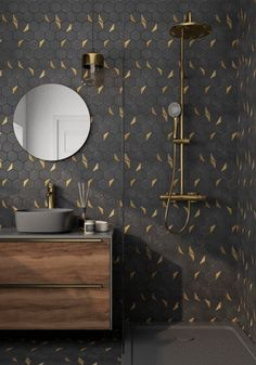 Black Tile Bathrooms, Black And Gold Bathroom, Small Bathroom, Modern Marble Bathroom, Bathroom Ideas, Powder Room Decor, Powder Room Design, Mosaic Bathroom, Bathroom Flooring