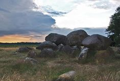 Hunebedden (dolmen), the Netherlands. Is a type of single-chamber megalithic tomb, dated from the early Neolithic period (4000 to 3000 BC). Off the 54 we have in the Netherlands, 52 are located in the province Drenthe.
