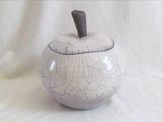 boite pomme raku  original céramique grès  Jean-Pierre et Danièle MEYER