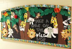 Zoo Animal Art Projects For Kids Bulletin Boards 46 Ideas Safari Bulletin Boards, Preschool Bulletin Boards, Decoration Creche, Board Decoration, Jungle Theme Classroom, Classroom Themes, Rainforest Classroom, Rainforest Activities, Preschool Jungle