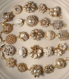 Vintage Jewelry Crafts bracelets made from vintage earrings - If you also have a broken jewelry and wondering what to do with it, here are amazing ideas to help you, We all have broken jewelry in some box that is Vintage Costume Jewelry, Vintage Costumes, Costume Jewelry Crafts, Earrings Crafts, Vintage Jewelry Crafts, Vintage Jewellery, Bracelet Making, Jewelry Making, Diy Bracelet