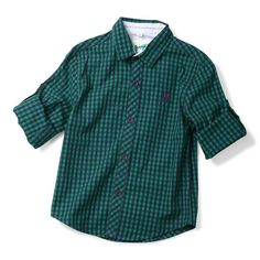 f7d918d27f14 Boys  Button Down Plaid Shirt - Kids Roll up Long Sleeve Casual Tops - Green