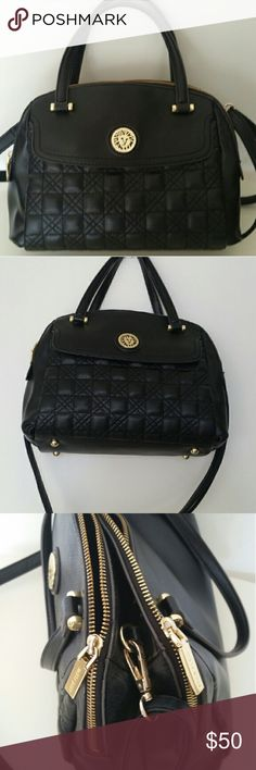ANNE KLEIN ALL IN THE STITCHES SATCHEL Black PRE-OWNED Good condition  All In Stiches Medium Satchel Quilted satchel that includes gold-tone hardware toes and zippers Twin best handles and adjustable/detachable move-frame strap Wallet: 2 inner slip, 1 inner zip, 1 external Dimension with  shoulder adjustable cross body  strap   H 8.5 in W 11.5 in Anne Klein Bags Satchels