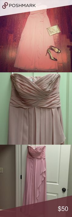 Strapless blush formal chiffon dress worn once. SIZE 10. strapless, sweetheart neckline. Ruched bodice. Cascading asymmetrical pleated overlay. Originally a bridesmaid dress but would be great for any formal event. Been dry cleaned. NO alternations. Sew-on straps included. David's Bridal Dresses Strapless