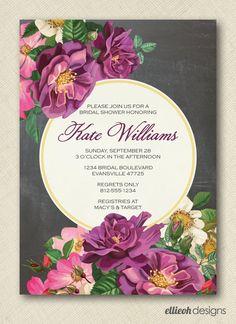vintage garden rose floral chalkboard bridal by ellieohdesigns, $15.00