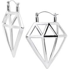 Gleaming Hollow Diamond Outline Tunnel Plug Earring Set   Body Candy Body Jewelry