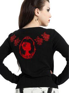 "Gilet Cardigan Rockabilly Gothique Retro Vintage Jawbreaker ""Roses & Cameo"" - rockangehell.com"