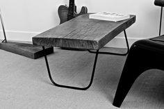 Table basse bois et métal en chêne de par AntoineGmobilier sur Etsy, €390.00