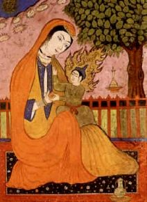 Hz. Merjem and Isa a.s. or Virgin Mary and Jesus, persian miniature