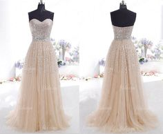 long prom dress champagne prom dress sequin prom by fitdesign, $199.00