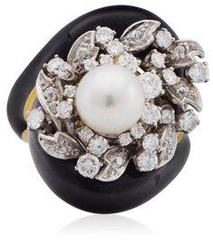 A black enamel, pearl and diamond ring by David Webb #ChristiesJewels #DavidWebb